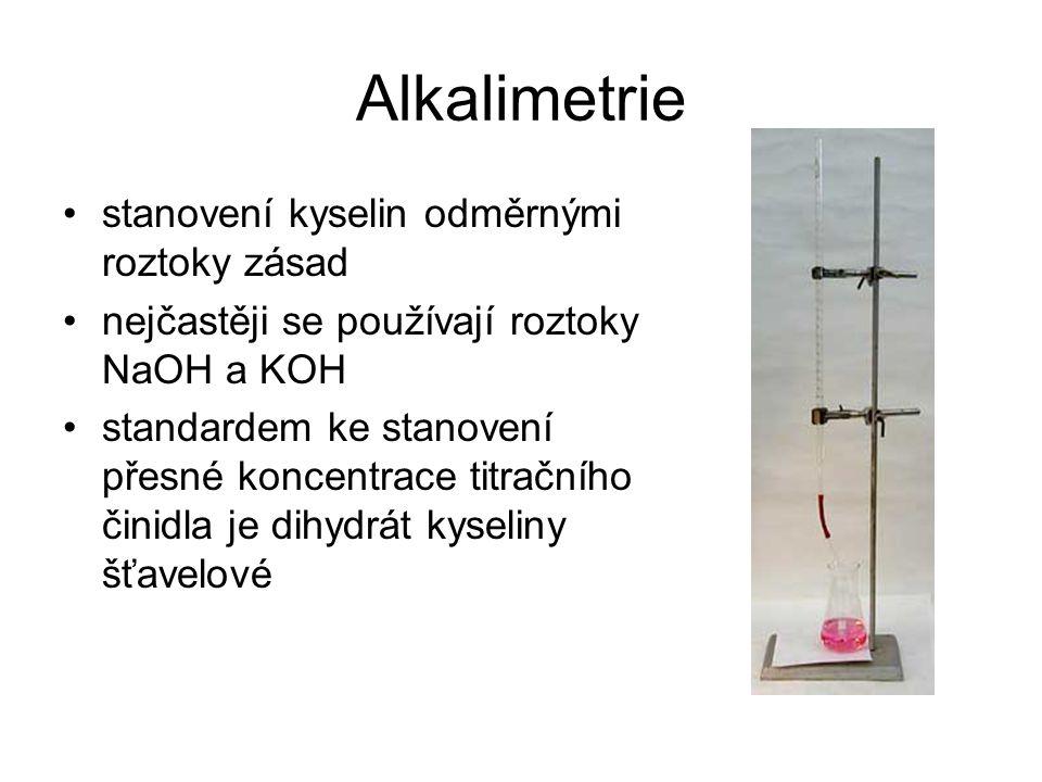 Alkalimetrie stanovení kyselin odměrnými roztoky zásad