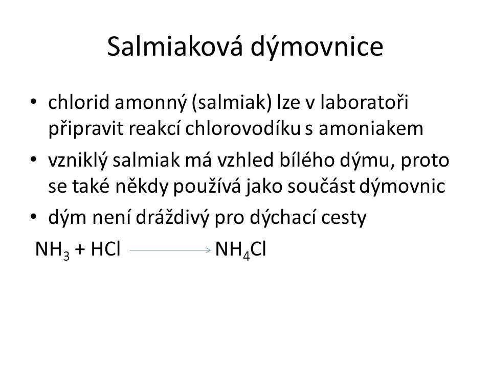 Salmiaková dýmovnice chlorid amonný (salmiak) lze v laboratoři připravit reakcí chlorovodíku s amoniakem.