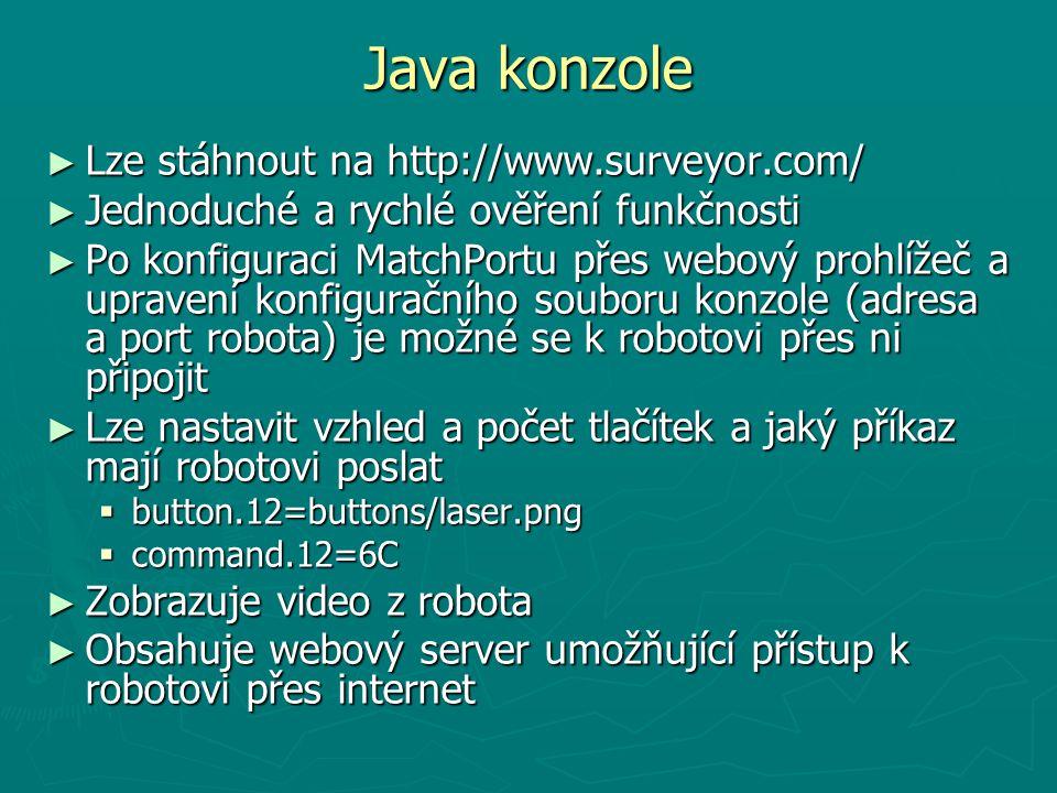 Java konzole Lze stáhnout na http://www.surveyor.com/