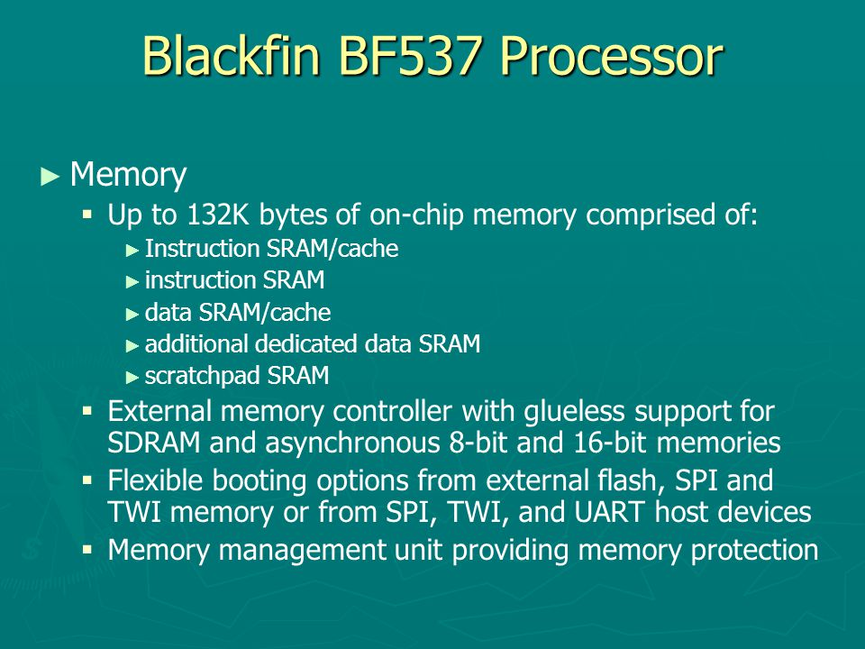 Blackfin BF537 Processor Memory