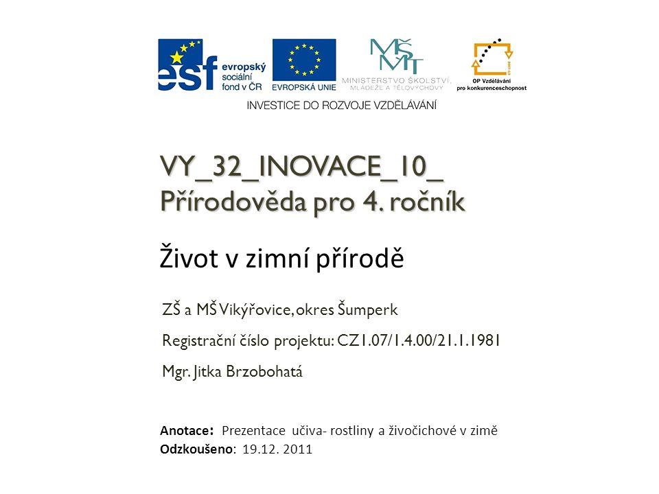 VY_32_INOVACE_10_ Přírodověda pro 4. ročník