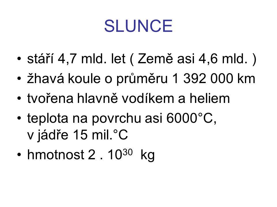 SLUNCE stáří 4,7 mld. let ( Země asi 4,6 mld. )