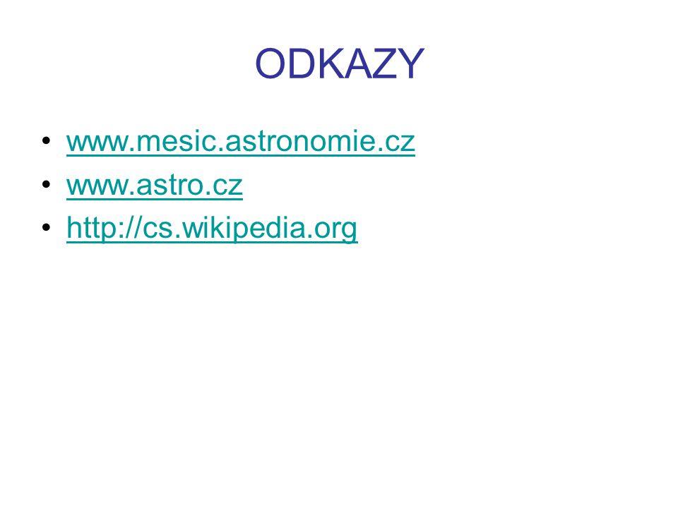 ODKAZY www.mesic.astronomie.cz www.astro.cz http://cs.wikipedia.org