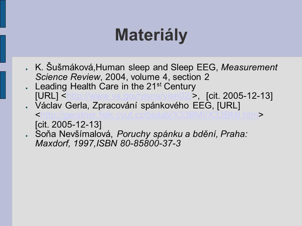 Materiály K. Šušmáková,Human sleep and Sleep EEG, Measurement Science Review, 2004, volume 4, section 2.