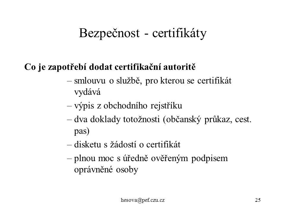 Bezpečnost - certifikáty