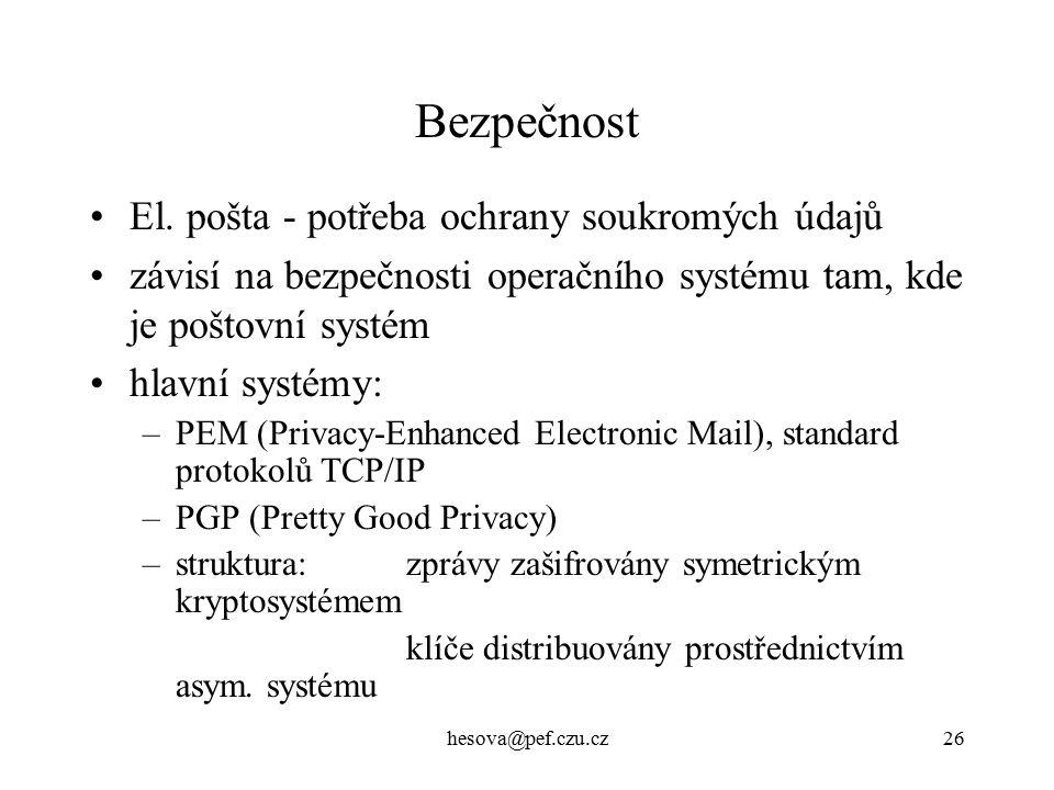 Bezpečnost El. pošta - potřeba ochrany soukromých údajů