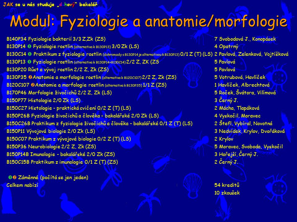 Modul: Fyziologie a anatomie/morfologie