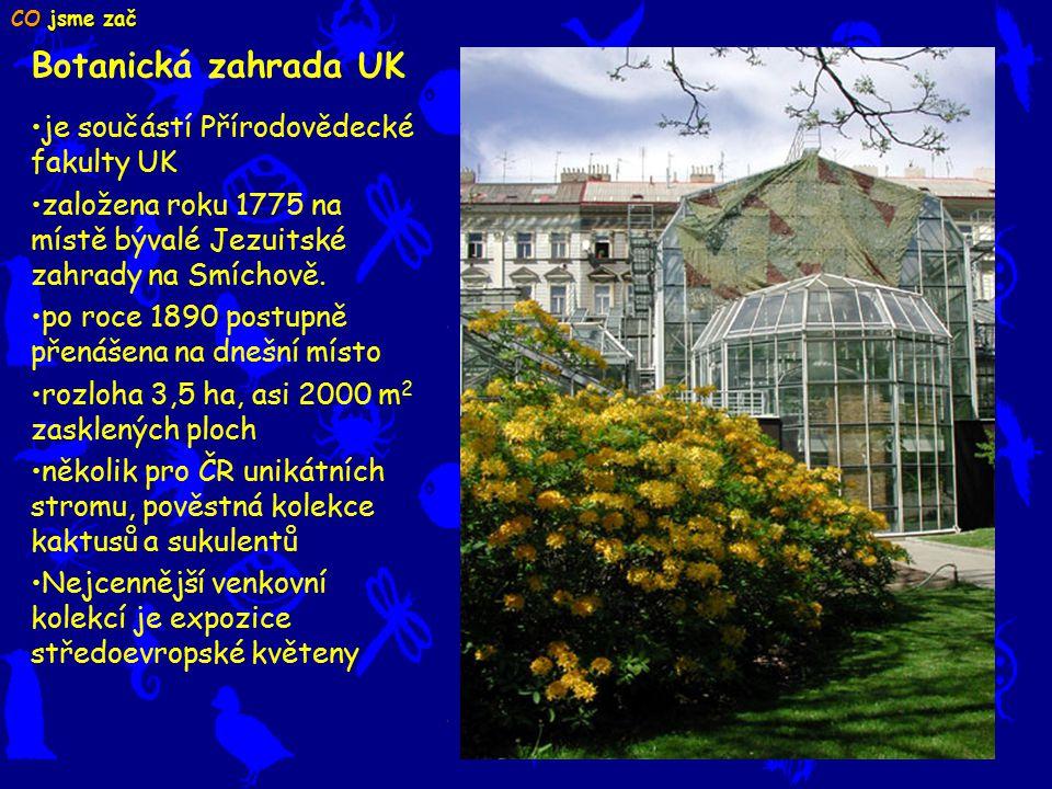 Botanická zahrada UK je součástí Přírodovědecké fakulty UK