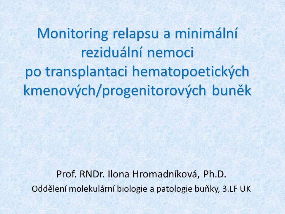 Monitoring relapsu a minimální reziduální nemoci po transplantaci hematopoetických kmenových/progenitorových buněk
