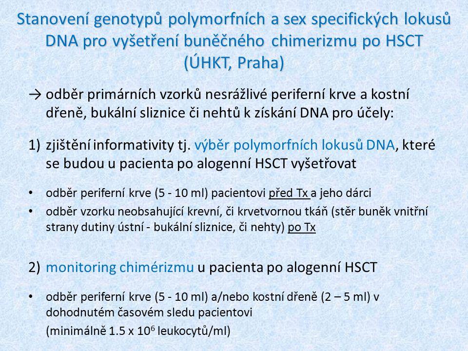 Stanovení genotypů polymorfních a sex specifických lokusů DNA pro vyšetření buněčného chimerizmu po HSCT (ÚHKT, Praha)