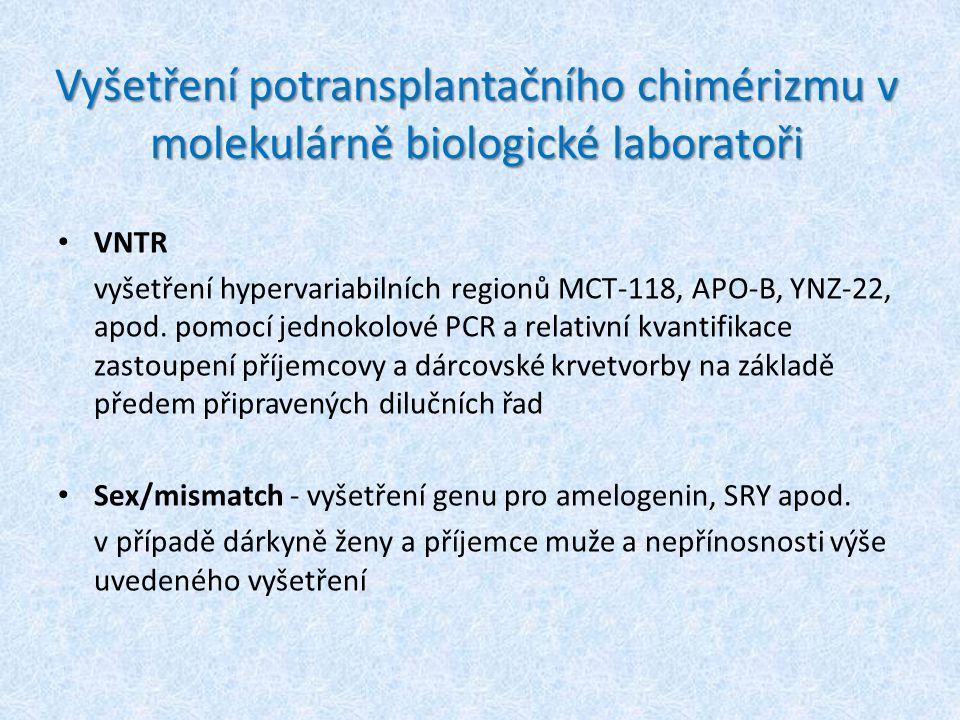 Vyšetření potransplantačního chimérizmu v molekulárně biologické laboratoři