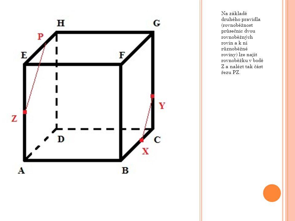Na základě druhého pravidla (rovnoběžnost průsečnic dvou rovnoběžných rovin a k ní různoběžné roviny) lze najít rovnoběžku v bodě Z a nalézt tak část řezu PZ.