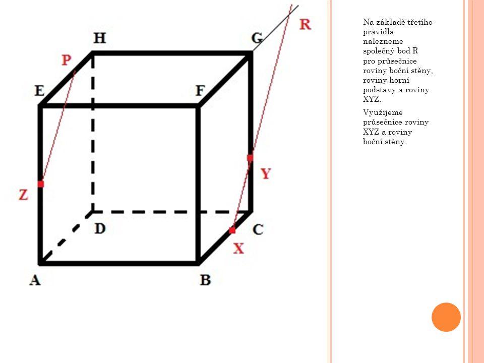 Na základě třetího pravidla nalezneme společný bod R pro průsečnice roviny boční stěny, roviny horní podstavy a roviny XYZ.