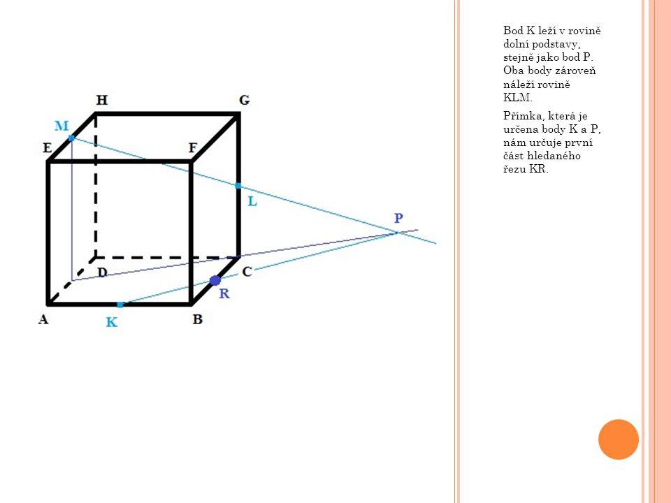 Bod K leží v rovině dolní podstavy, stejně jako bod P
