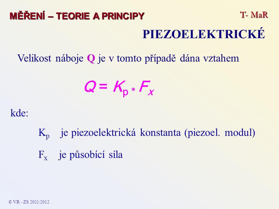 Q = Kp * Fx PIEZOELEKTRICKÉ
