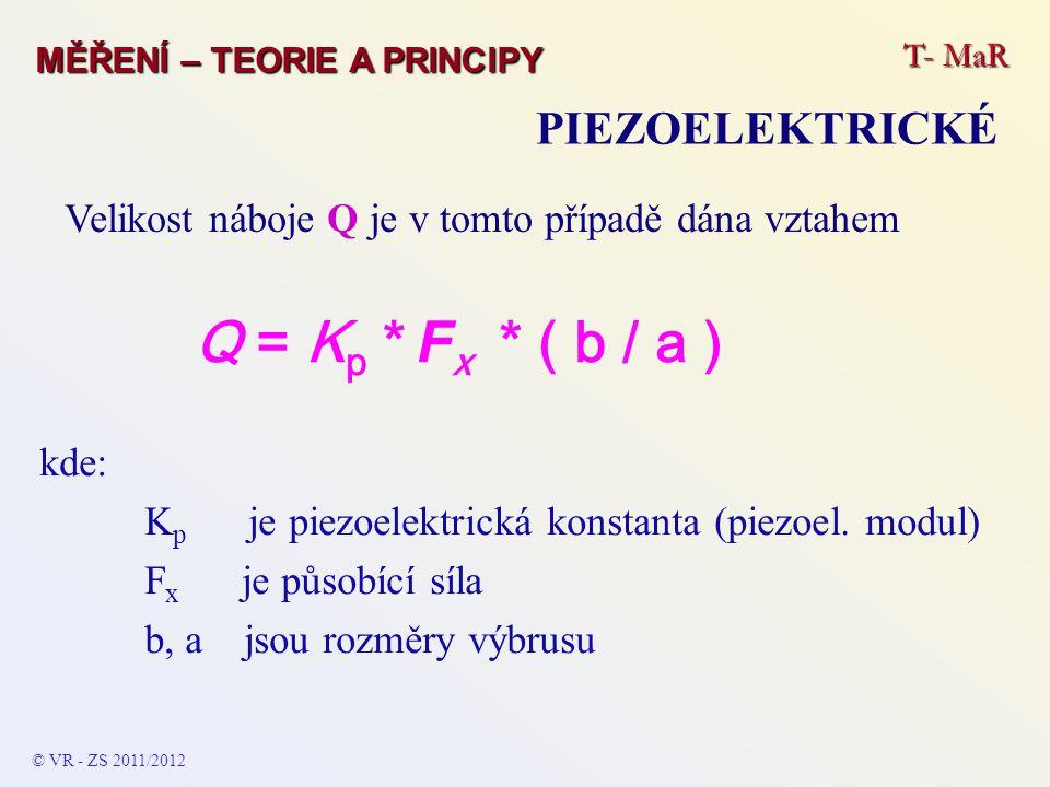 Q = Kp * Fx * ( b / a ) PIEZOELEKTRICKÉ