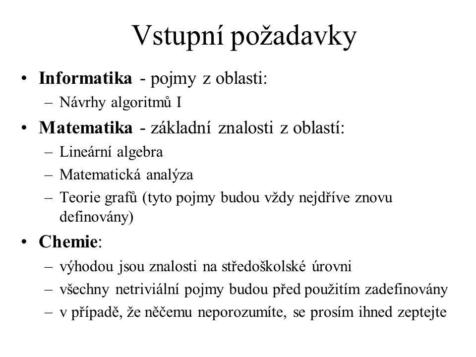 Vstupní požadavky Informatika - pojmy z oblasti: