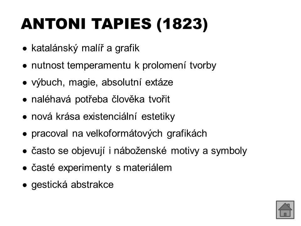 ANTONI TAPIES (1823) katalánský malíř a grafik