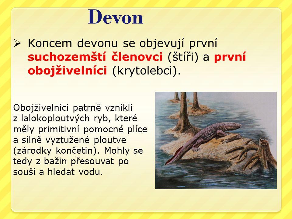 Devon Koncem devonu se objevují první suchozemští členovci (štíři) a první obojživelníci (krytolebci).