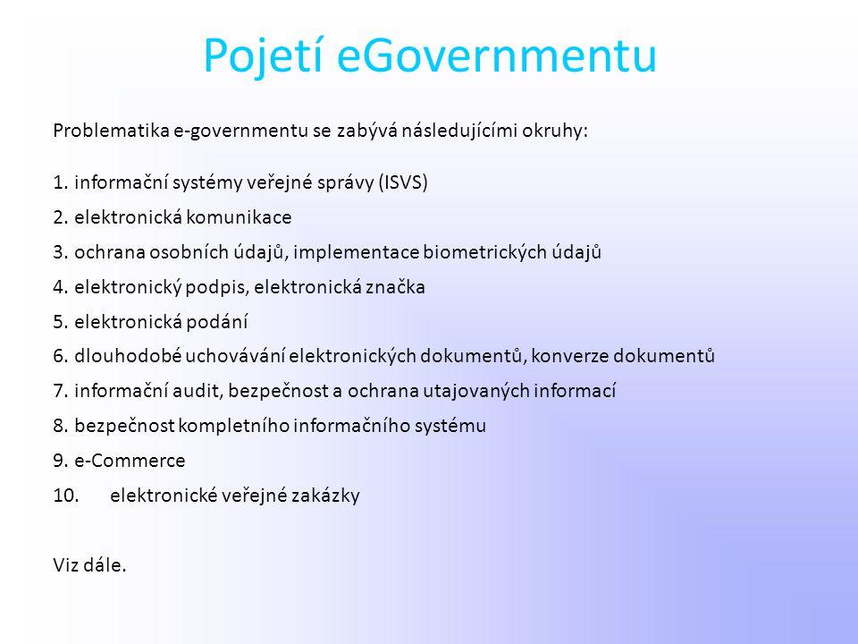 Pojetí eGovernmentu Problematika e-governmentu se zabývá následujícími okruhy: 1. informační systémy veřejné správy (ISVS)