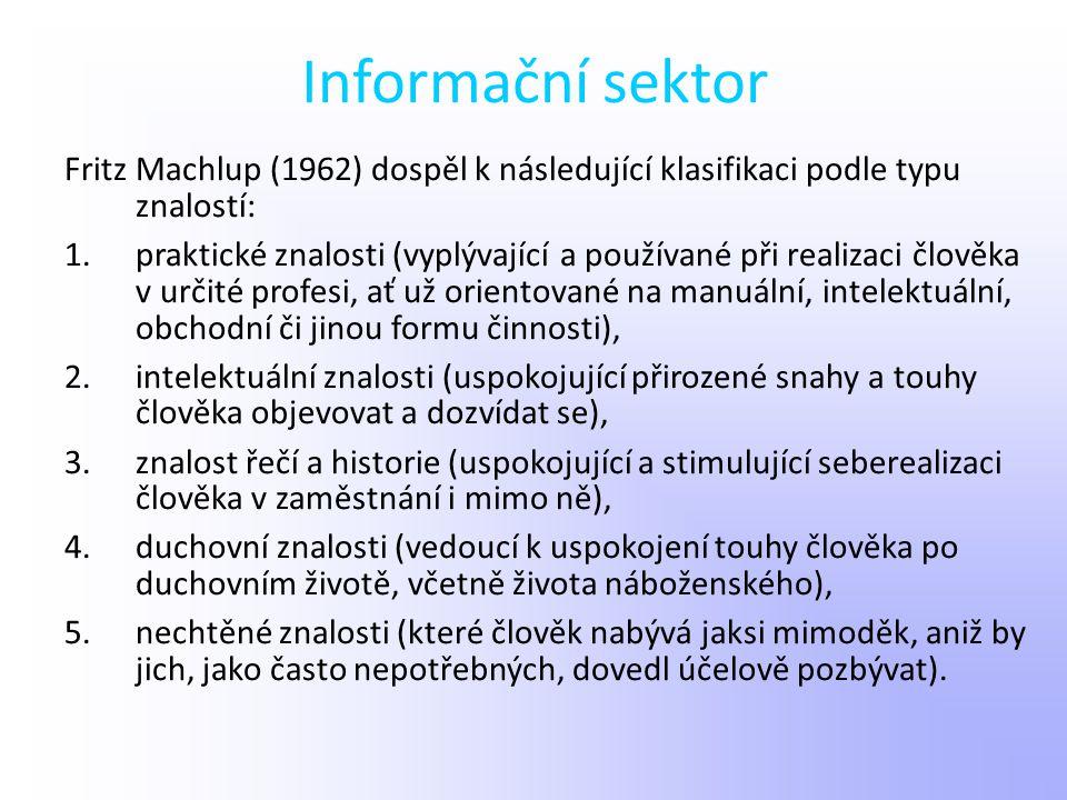 Informační sektor Fritz Machlup (1962) dospěl k následující klasifikaci podle typu znalostí: