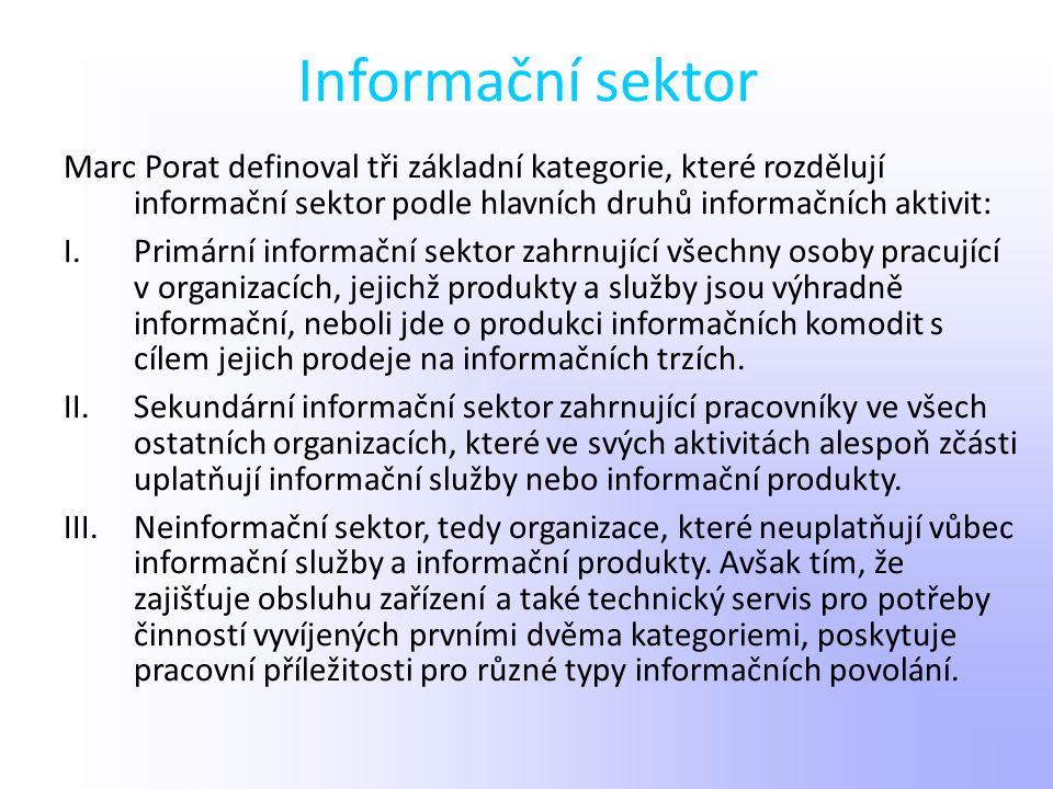 Informační sektor Marc Porat definoval tři základní kategorie, které rozdělují informační sektor podle hlavních druhů informačních aktivit: