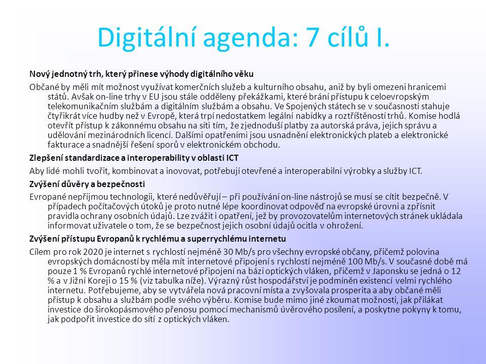 Digitální agenda: 7 cílů I.