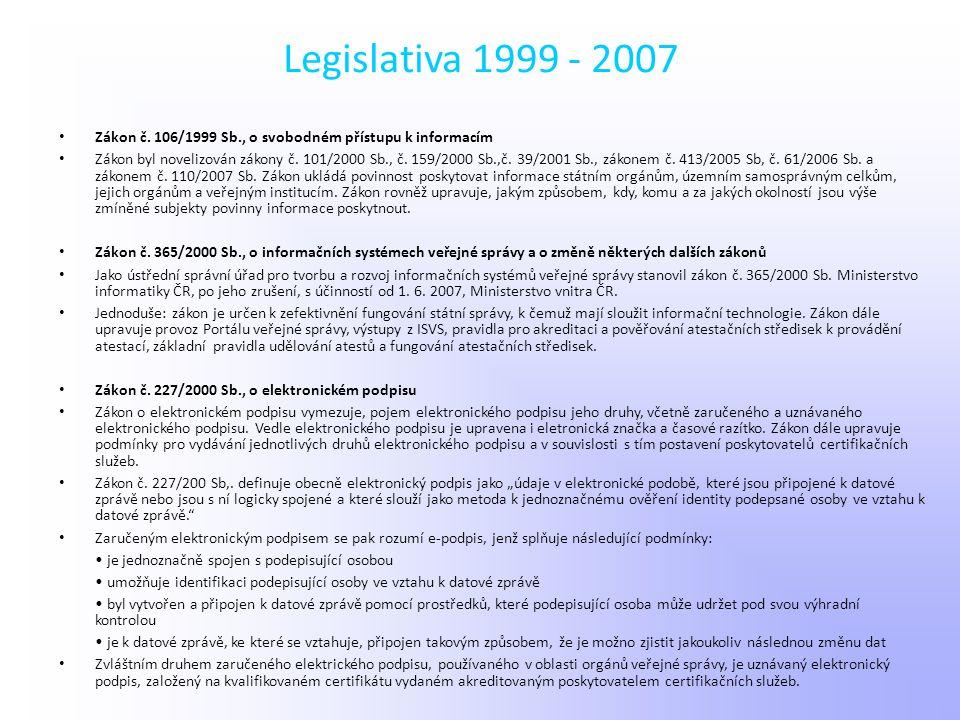 Legislativa 1999 - 2007 Zákon č. 106/1999 Sb., o svobodném přístupu k informacím.