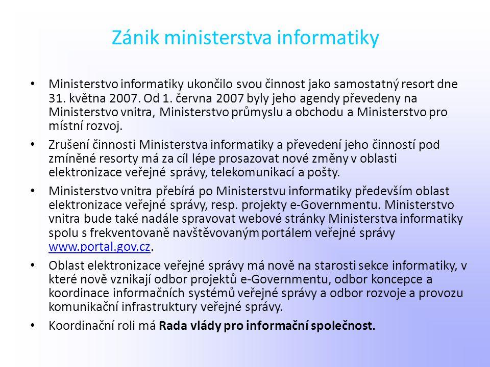 Zánik ministerstva informatiky