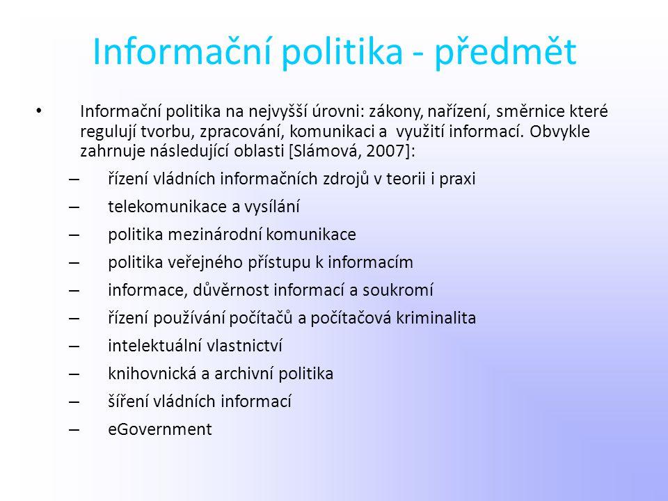 Informační politika - předmět