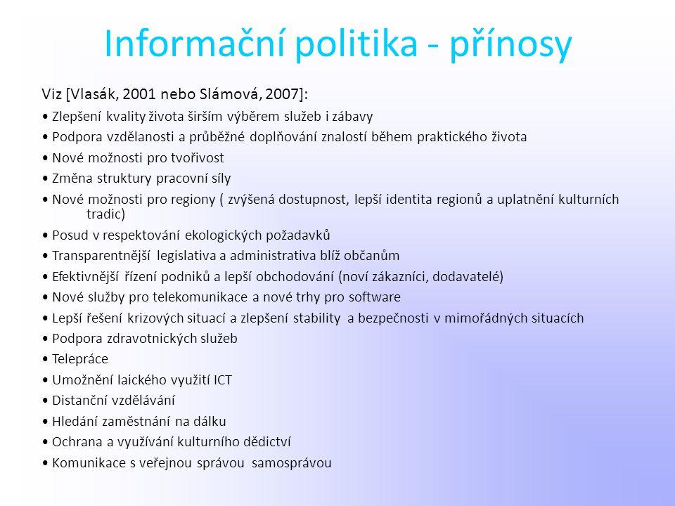 Informační politika - přínosy