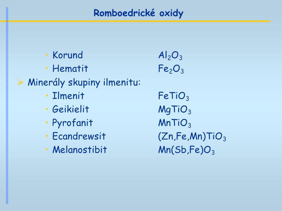 Romboedrické oxidy Korund Al2O3. Hematit Fe2O3. Minerály skupiny ilmenitu: Ilmenit FeTiO3.