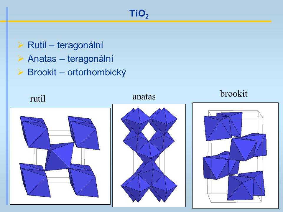 TiO2 Rutil – teragonální Anatas – teragonální Brookit – ortorhombický brookit anatas rutil