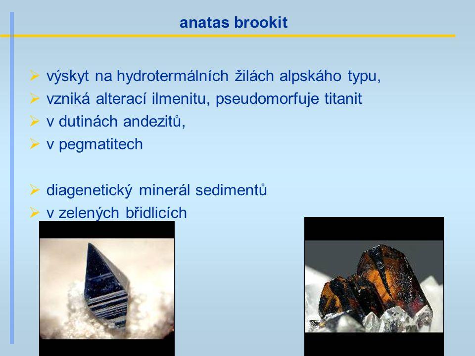 anatas brookit výskyt na hydrotermálních žilách alpskáho typu, vzniká alterací ilmenitu, pseudomorfuje titanit.