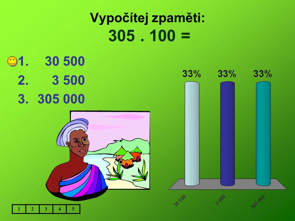 Vypočítej zpaměti: 305 . 100 = 30 500 3 500 305 000 1 2 3 4 5