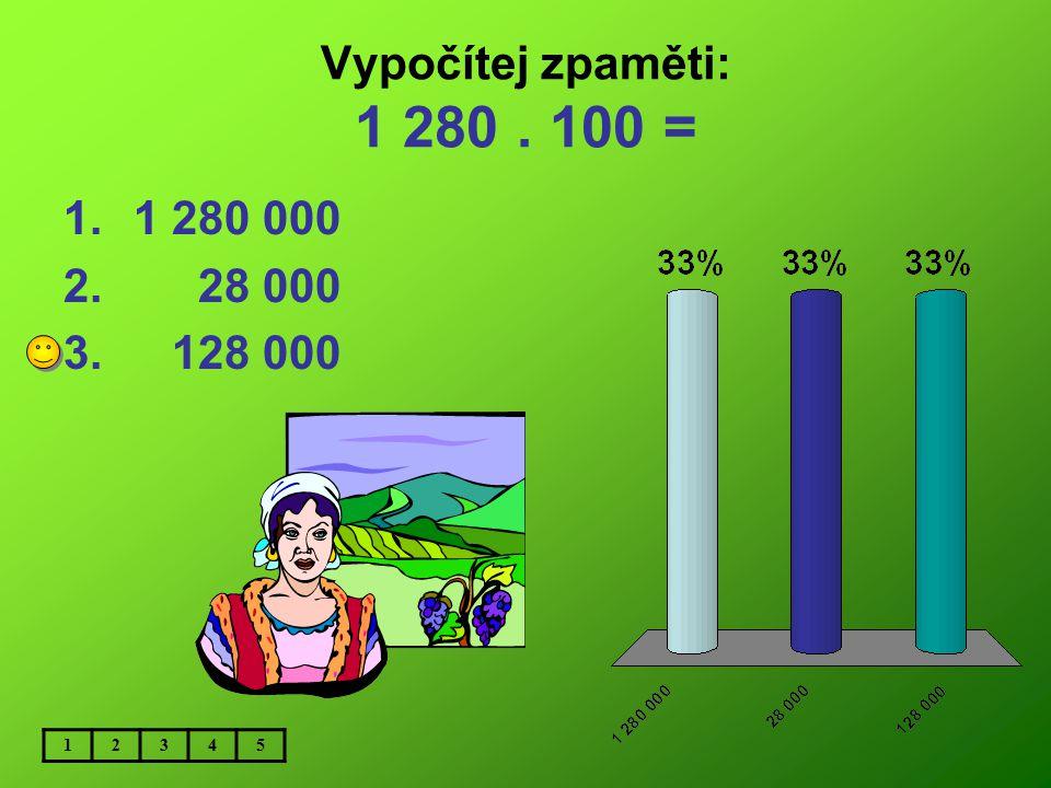 Vypočítej zpaměti: 1 280 . 100 = 1 280 000 28 000 128 000 1 2 3 4 5