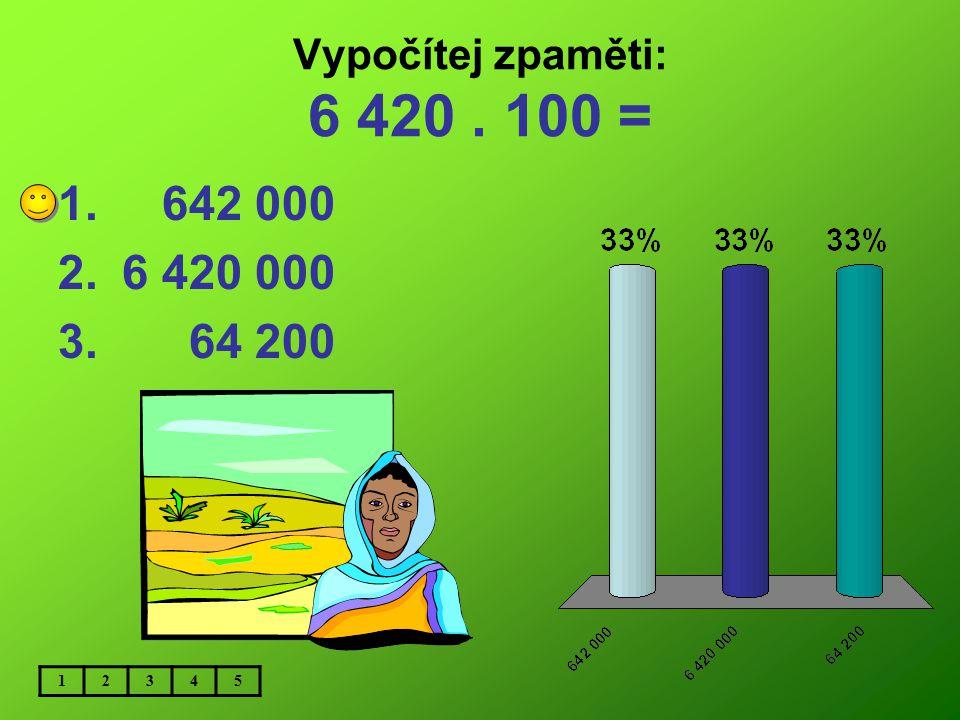 Vypočítej zpaměti: 6 420 . 100 = 642 000 6 420 000 64 200 1 2 3 4 5
