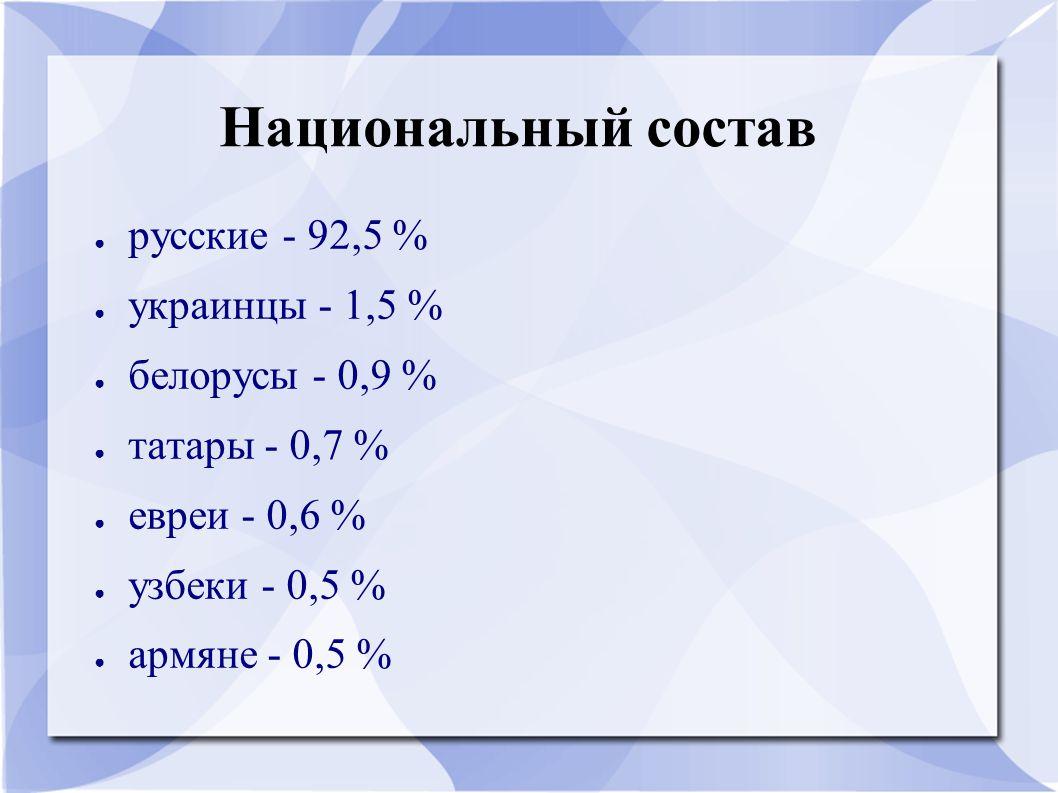 Национальный состав русские - 92,5 % украинцы - 1,5 % белорусы - 0,9 %