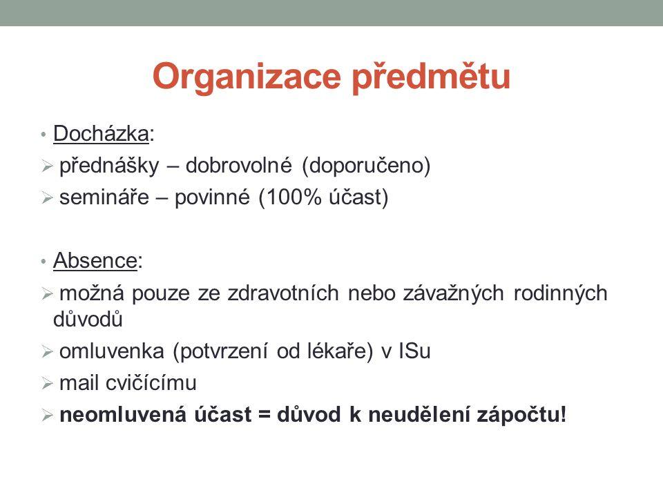 Organizace předmětu Docházka: přednášky – dobrovolné (doporučeno)