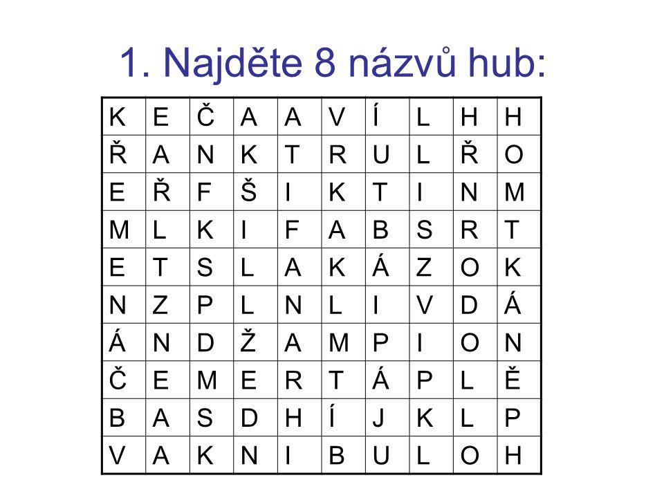 1. Najděte 8 názvů hub: K E Č A V Í L H Ř N T R U O F Š I M B S Á Z P