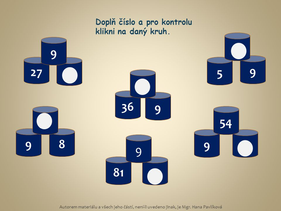 Doplň číslo a pro kontrolu klikni na daný kruh.