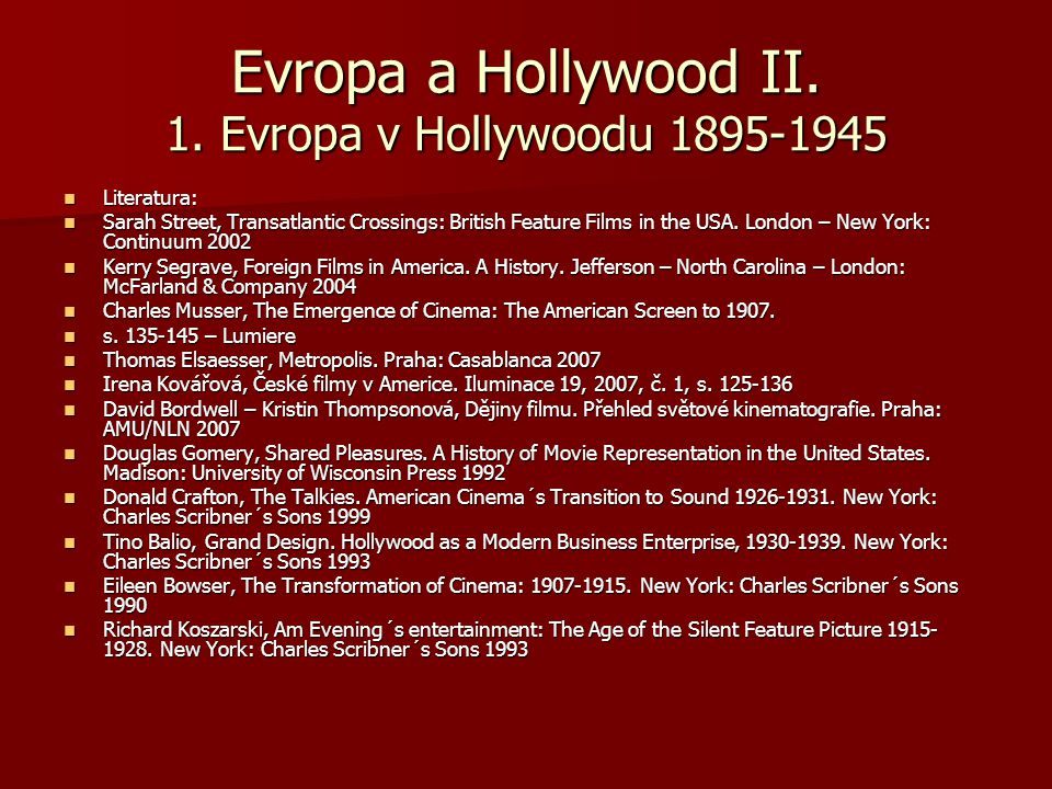 Evropa a Hollywood II. 1. Evropa v Hollywoodu 1895-1945