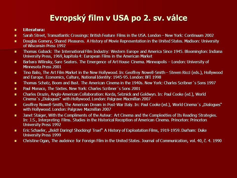 Evropský film v USA po 2. sv. válce
