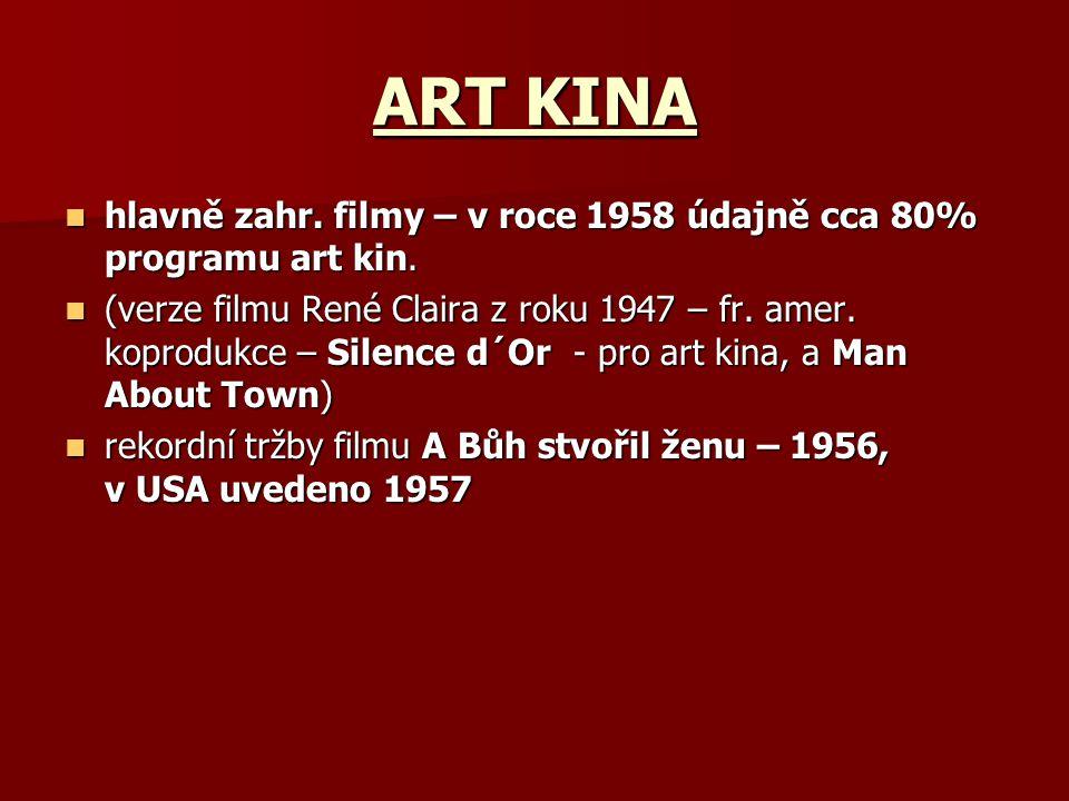 ART KINA hlavně zahr. filmy – v roce 1958 údajně cca 80% programu art kin.