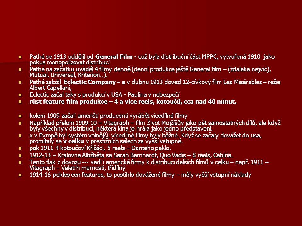 Pathé se 1913 oddělil od General Film - což byla distribuční část MPPC, vytvořená 1910 jako pokus monopolizovat distribuci