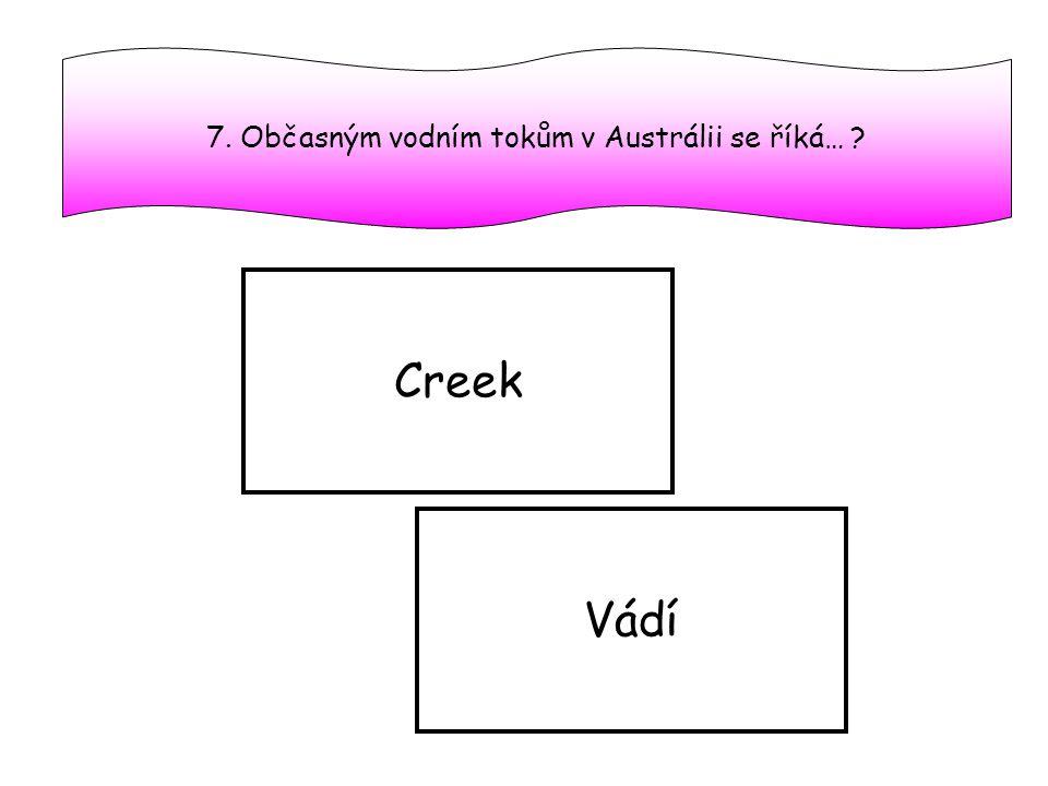7. Občasným vodním tokům v Austrálii se říká…