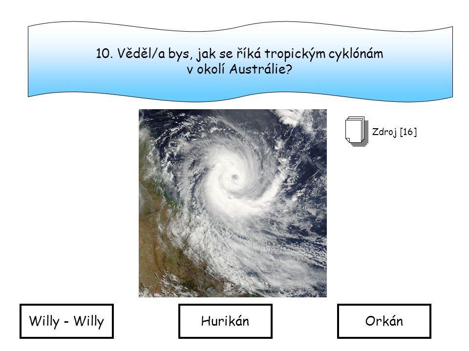 10. Věděl/a bys, jak se říká tropickým cyklónám