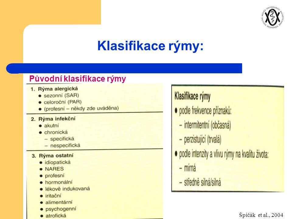 Klasifikace rýmy: Původní klasifikace rýmy Špičák et al., 2004