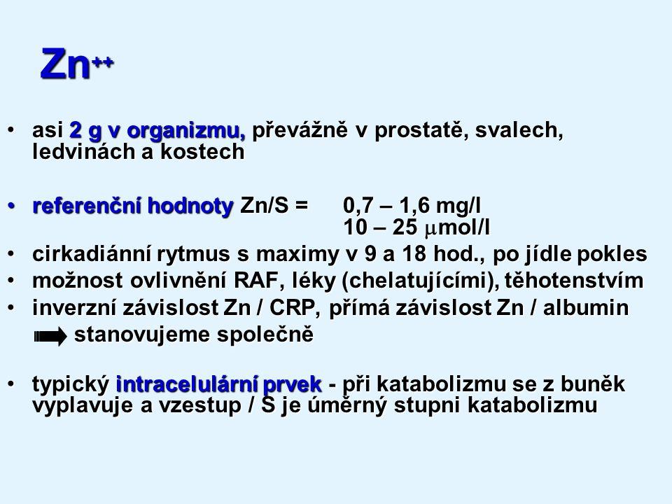 Zn++ asi 2 g v organizmu, převážně v prostatě, svalech, ledvinách a kostech. referenční hodnoty Zn/S = 0,7 – 1,6 mg/l 10 – 25 mmol/l.