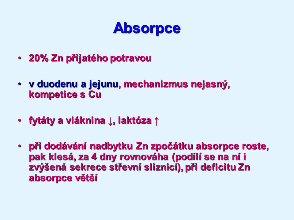 Absorpce 20% Zn přijatého potravou